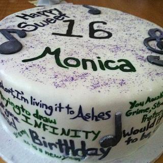 Song Lyrics Sweet 16 Cake