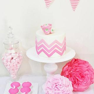 Ombre Chevron and Ranunculus cake