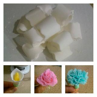 Fondant Bow, Rose ,Calla lily and carnation flowers...