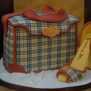 Burberry style handbag and high heel shoe - Cake by Claire