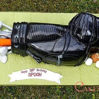 Golf bag birthday cake
