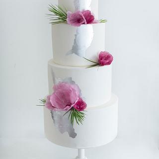 Silver & Plum Wedding Cake - Cake by Sweet Bakes