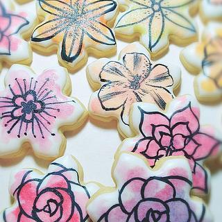 Watercolor Flower Cookies