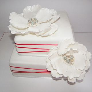 Two Tiered Square Fanatsy Flower Cake