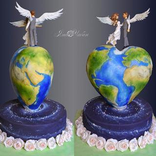 "Wedding cake ""This world is love"""