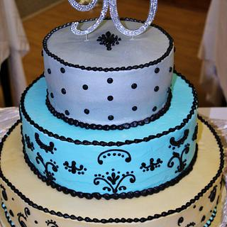 Gold, silver, Turquoise, Black Tiered Birthday Cake