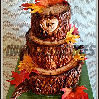 Tree trunk wedding cake