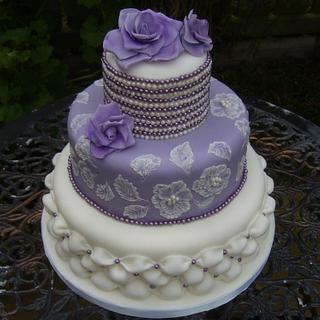 purple rose cake - Cake by Kate's Bespoke Cakes