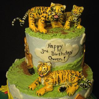 Tigers, Mater, Curious George...everything Owen loves cake!