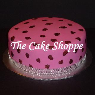 Leopard print cake with bling ribbon