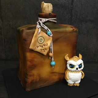 Magic potion bottle with owl - Cake by  Sue Deeble