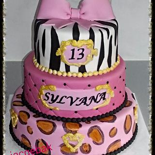 pink cake with animal prints