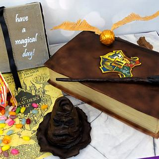Harry Potter Cake With Light-Up Wand and Edible props - Cake by Angie Scott Cakes