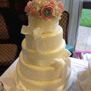 Rose and Ranunculus Lace Wedding Cake