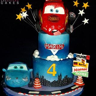 Disney cars 2 : Lightning Mcqueen and Sally - Cake by Sweet Creations Cakes