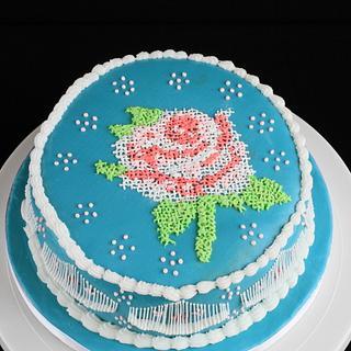 A Royal Icing Cross Stitch Cake