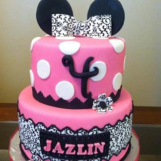 Damask Minnie Mouse Birthday Cake