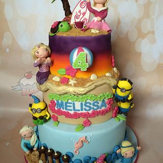 Disney Princess and Minion Beach Party Cake!
