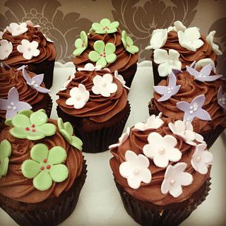 Chocolate cupcakes with sugar flowers