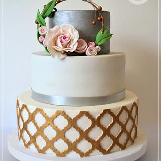 Boho chic minimalistic wedding cake