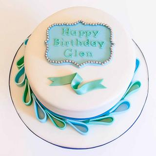 Turquoise and Teal Birthday Cake