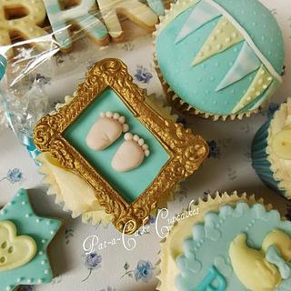 Vintage themed baby shower cupcakes and biscuits