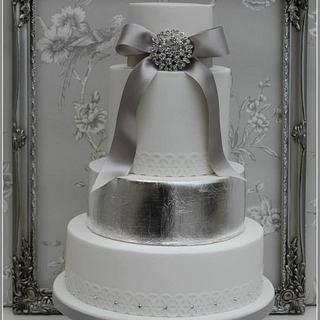Silver Leaf & crystal detail wedding cake