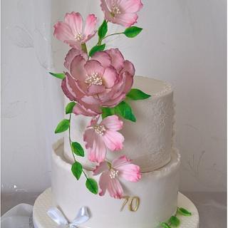 70th birthday with sugar flowers