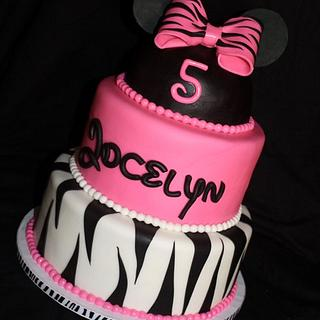 Minnie Mouse and Zebra Stripes - Cake by Jewell Coleman