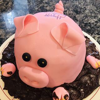 Piggy birthday cake - Cake by MerMade
