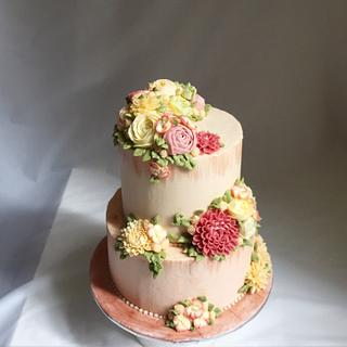 100th Buttercream Blooms Cake