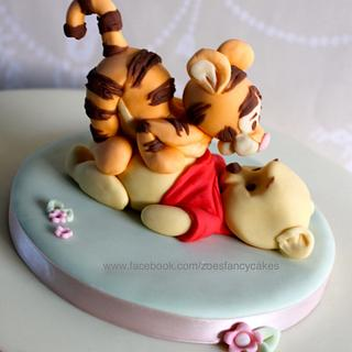 Pooh and  Tigger Christening cake