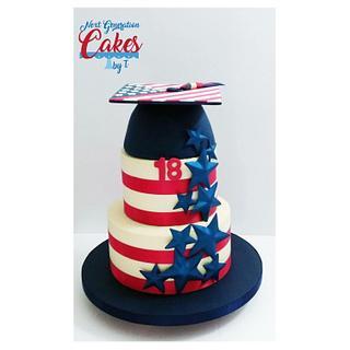 Patriotic graduation/birthday cake