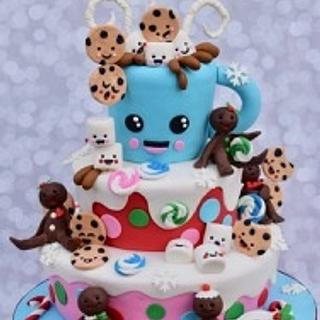 Holiday Kawaii Hot Chocolate with cookies and marshmallows - Cake by Jean A. Schapowal