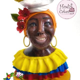Colombian lady bust- Colombia International Collaboration 2021 - Cake by Hend Taha-HODZI CAKES