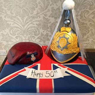 Household Cavalry Lifeguard State Helmet and Beret - Cake by Nina Stokes
