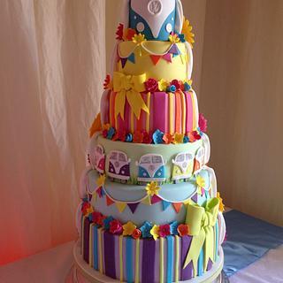 Half & Half bright Wedding cake