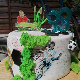 Fishing cake or football cake? Both of them!