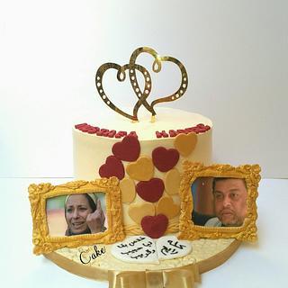 """Comic""Engagement cake"