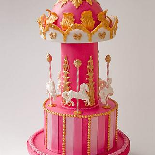 Pink Caroussell Cake - Cake by Fleur de Sucre