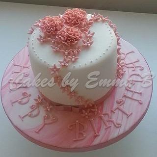 Vintage Pastel Pink Ruffle Rose Birthday Cake