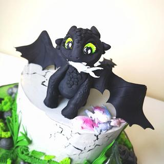 How to train your dragon cake with figurine