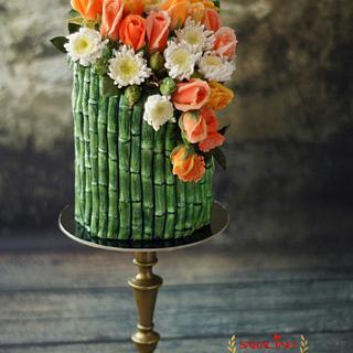Bamboo birthday cake and sugar flowers