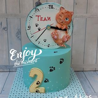 Cats & clocks...😁 - Cake by BULGARIcAkes