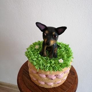 Naked cake with dog