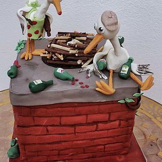 Celebrating storks - Cake by Lamputigu