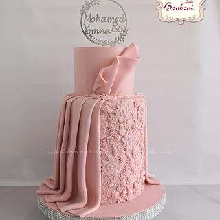 pink egagement cake
