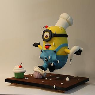 Anti-gravity cake!!!3D Minion falling!!!!