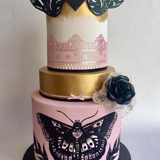 My daughter's 17th birthday cake - Harry Styles tattoo inspired
