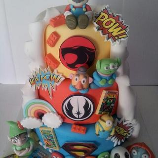 Comic Book Double Sided Wedding Cake